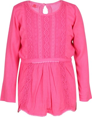 UFO Casual Polycotton Peplum Top(Pink, Pack of 1) at flipkart