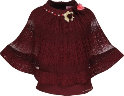 Cutecumber Baby Girls Party Lace Top(Maroon, Pack of 1)