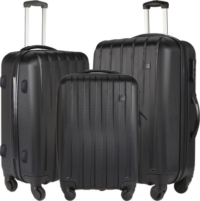 NASHER MILES Zurich Black Abs Hard Luggage Set Of 3 Trolley/Travel/Tourist Bags  55, 65   75 Cm  Check in Luggage   28 inch NASHER MILES Suitcases