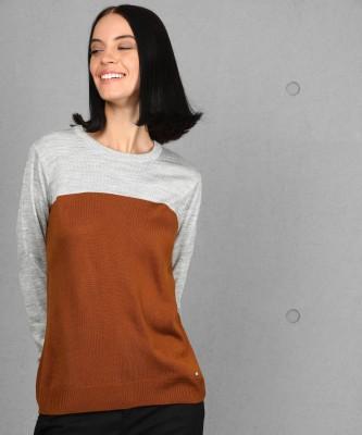 Metronaut Self Design Round Neck Casual Women Brown, Grey Sweater
