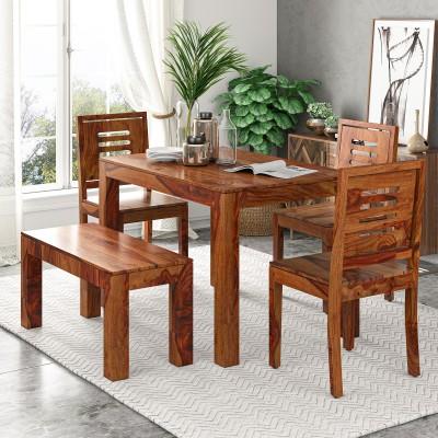 Suncrown Furniture Sheesham Wood Solid Wood 4 Seater Dining Set(Finish Color - Teak Finish)
