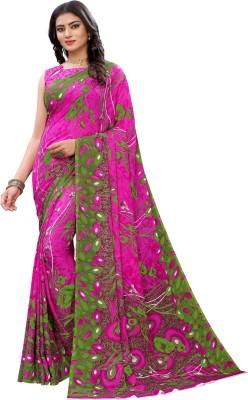 SAARA Floral Print, Printed Fashion Georgette Saree(Pink)