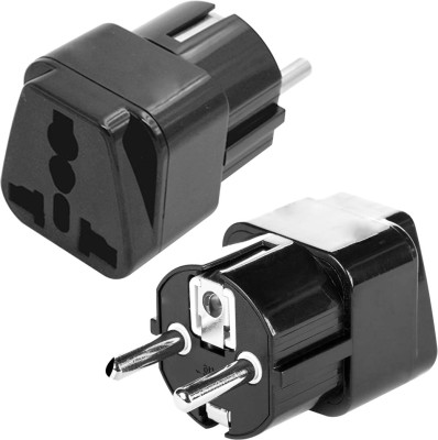 MX Conversion Plug Europe type Schuko Plug to Universal Socket Worldwide Adaptor(Black)