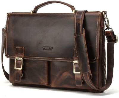 CONTACTS Genuine Leather Brown Office Bag, Sling Bag, Messenger Bag, Metal YKK Zipper Pocket (Tan) Messenger Bag(Brown, 15 L)
