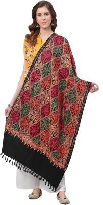 Weavers Villa Acrylic Embroidered Women Shawl(Black)
