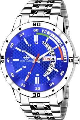 EDDY HAGER EH-283-BL Blue Working Day and Date Display Analog Watch -...