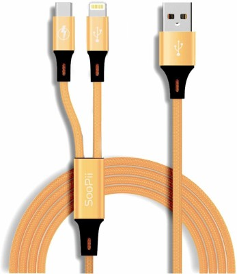 Jabox Premium Lightening and Micro 1 m Lightning Cable(Compatible with Mobiles, Tablet, Gold, One Cable)