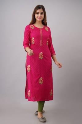 FASHION DEPTH Women Embroidered Straight Kurta(Pink)