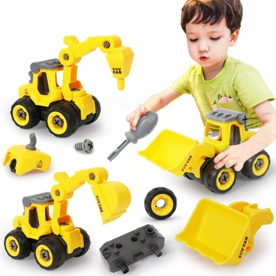 dharti enterprise Pull Back Construction Vehicles Set, 4 Pack DIY Take Apart Toys Construction Trucks with 1 Screwdriver Tools, Kids Building Cars Birthday for Boys Toddlers 3,4,5,6,7 Year Olds