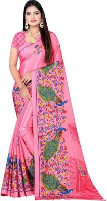 Leelavati Printed Daily Wear Crepe Saree(Pink)