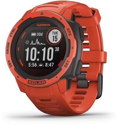 Garmin Instinct Solar Flame Red Smartwatch(Red Strap, m)