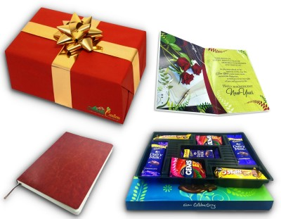 Almoda Creations New Year Chocolate Gift with Greeting Card, Leather Cover Premium Diary, Cadbury Celebrations Festive Chocolate Box with Fancy Gift Wrapping Assorted Gift Box(Multicolor)