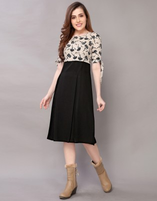Selvia Women Fit and Flare Beige, Black Dress