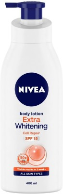 NIVEA Body Lotion, Extra Whitening Cell Repair, SPF 15 & 50x Vitamin C(400 ml)