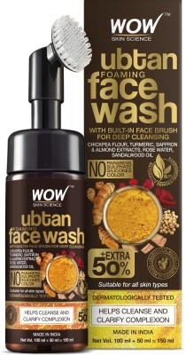 WOW SKIN SCIENCE Ubtan Foaming  with Built-In Face Brush for deep cleansing - No Parabens, Sulphate, Silicones & Color - 150mL Face Wash(150 ml)