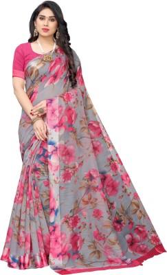 SAARA Printed Fashion Cotton Blend Saree(Grey, Pink)
