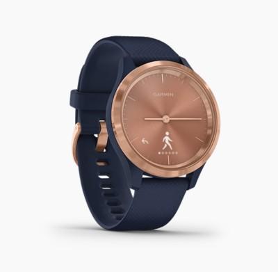 GARMIN VIVOMOVE 3S Navy with Rose Gold Smartwatch(Blue Strap, m)
