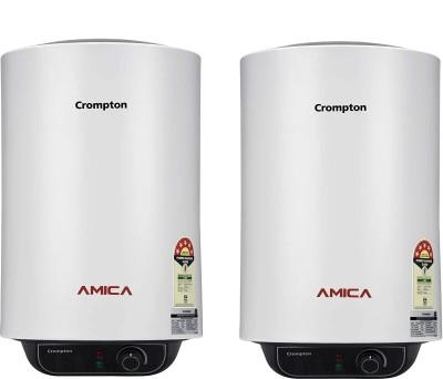 Crompton 25 L Storage Water Geyser (AMICA PACK OF 2, White)