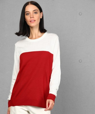 Metronaut Solid Round Neck Casual Women Red, White Sweater