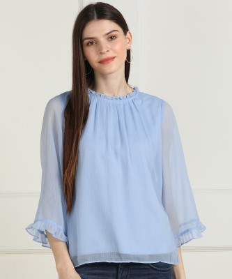 AND Casual Bell Sleeve Solid Women Blue Top