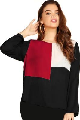 JUNEBERRY Casual Regular Sleeve Color Block Women White, Maroon, Black Top