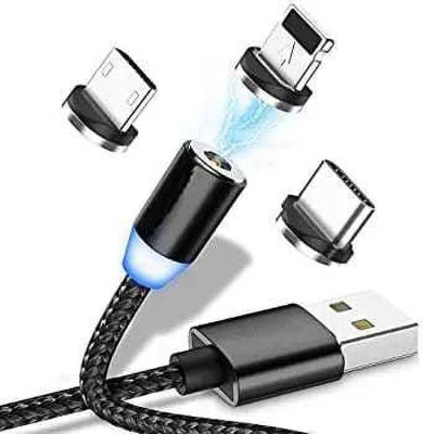 AS ENTERPRISE Magnetic Data Cable 1 m Micro USB Cable(Compatible with 3 in 1 Magnetic Charging Data Cable with 1m Cable, Black, One Cable)