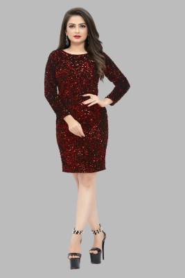 Brucella Women Sheath Maroon Dress