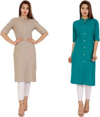 Rimeline Fashion Women Solid Straight Kurta(Grey, Green)