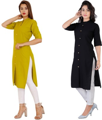 Rimeline Fashion Women Solid Straight Kurta(Black, Green)