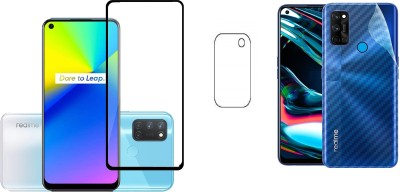 Backlund Front and Back Screen Guard for REALME 7i Tempered Glass,Carbon Fiber Back Sticker and Camera Glass(Pack of 2)