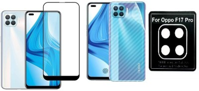 Backlund Front and Back Screen Guard for OPPO F17 PRO Tempered Glass,Carbon Fiber Back Sticker and Camera Glass(Pack of 2)