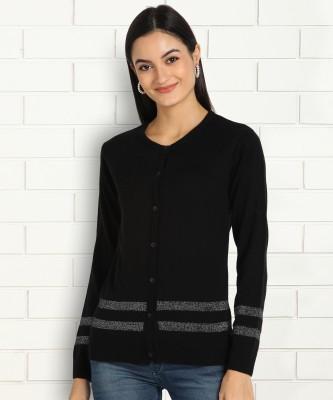 Anmi Striped V Neck Casual Women Black Sweater