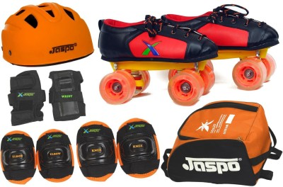 Jaspo Velocity Pro Shoe Skates Combo Foot length 22.9 cms Size : 2 UK ( Age group 8-9 years) Skating Kit