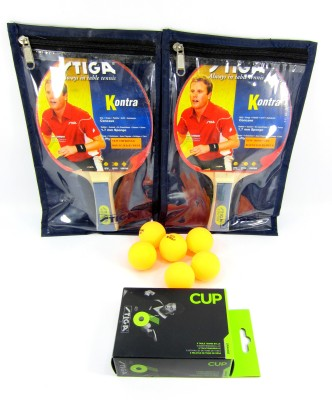 Stiga Kontra Raquets(Set of 2), Covers (2) & Cup TT Balls (6) Table Tennis Kit  available at flipkart for Rs.1300