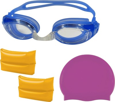 Golddust Swimming Goggles, Silicone Cap with ArmBand for 6 12 Year Child Swimming Kit