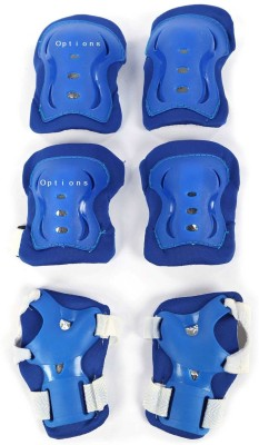 Options Kid's Roller Blading Wrist Elbow Knee Pads Blades Guard 6 PCS Set in Blue Skating Kit  available at flipkart for Rs.521