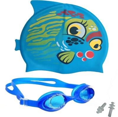 GB SILICONE CAP & ANTI FOG GOGGLE WITH UV SHIELD Swimming Kit