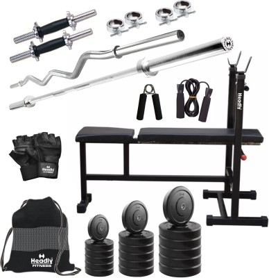 a06a5a2ca12 46% OFF on Headly 40 kg Combo BB 5 Convenient Home Gym Kit on Flipkart