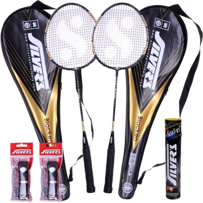 Silver's Blacken Badminton Kit(2 Racquets with Cover, 1 Box Shuttlecock and 2 PVC Grips)  available at flipkart for Rs.799