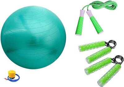 Cosco Gym Ball 75cm with FootPump, Jump Rope Elevate and Hand Grip Clutch Set of 2  Pro Gym   Fitness Kit