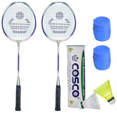 Cosco 2 Cb 120 Racket With Aero 727 Nylon Shutttlecock And 2 Grip Badminton Kit