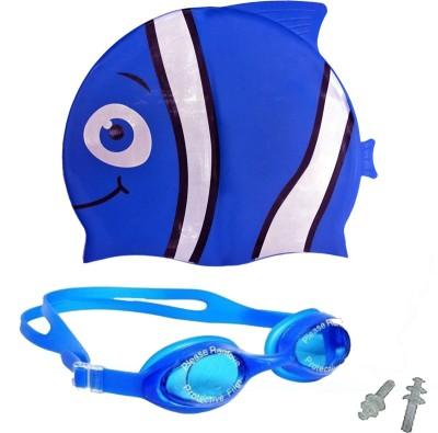 GB BLUE Happy Fish Swim Cap & Anti Fog Google Swimming Kit