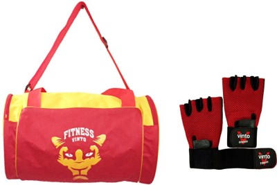 Vinto ALL RED COMBO 1 BAG 1 PAIR GLOVE FREE SIZE Gym & Fitness Kit