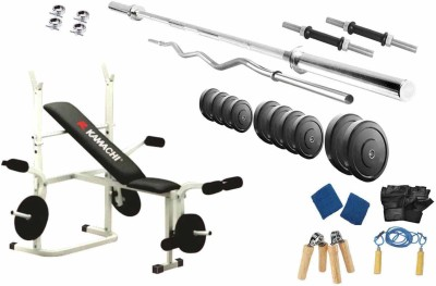 Protoner 90 Kgs & Kamachi Bench Home Gym Combo(Weight of Plates = 90 kg)