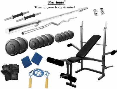 Protoner 95 Kgs & Multy Bench Home Gym Combo(Weight of Plates = 95 kg)