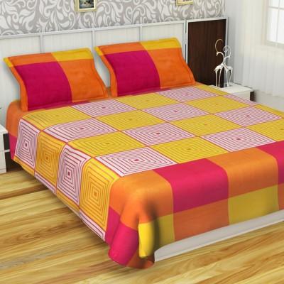 IVAZA 144 TC Cotton Double Printed Bedsheet(Pack of 1, Orange)