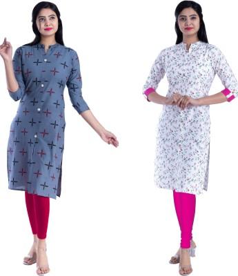 Bachuu Women Printed Straight Kurta(Pink, Blue)