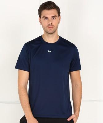 REEBOK Solid Men Round Neck Dark Blue T-Shirt