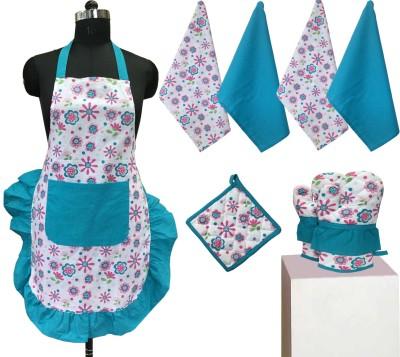 Lushomes Light Blue Cotton Kitchen Linen Set(Pack of 8) at flipkart