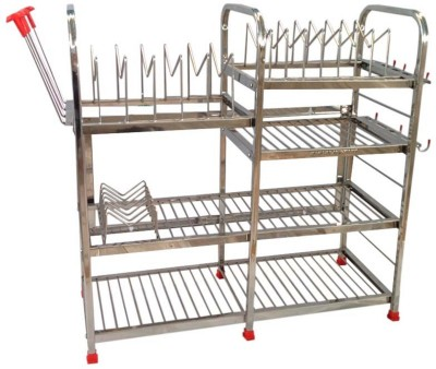 Maharaja Smart Modern In Bigger Size For Dishes-Plates-Glass-Crockery Stainless Steel Kitchen Rack(Silver) at flipkart
